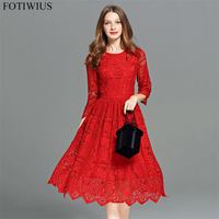 Plus Size 5XL European Fashion Runway Dresses 2017 Women High Quality Elegant Red Lace Dress Autumn Party Dresses Vestidos Mujer