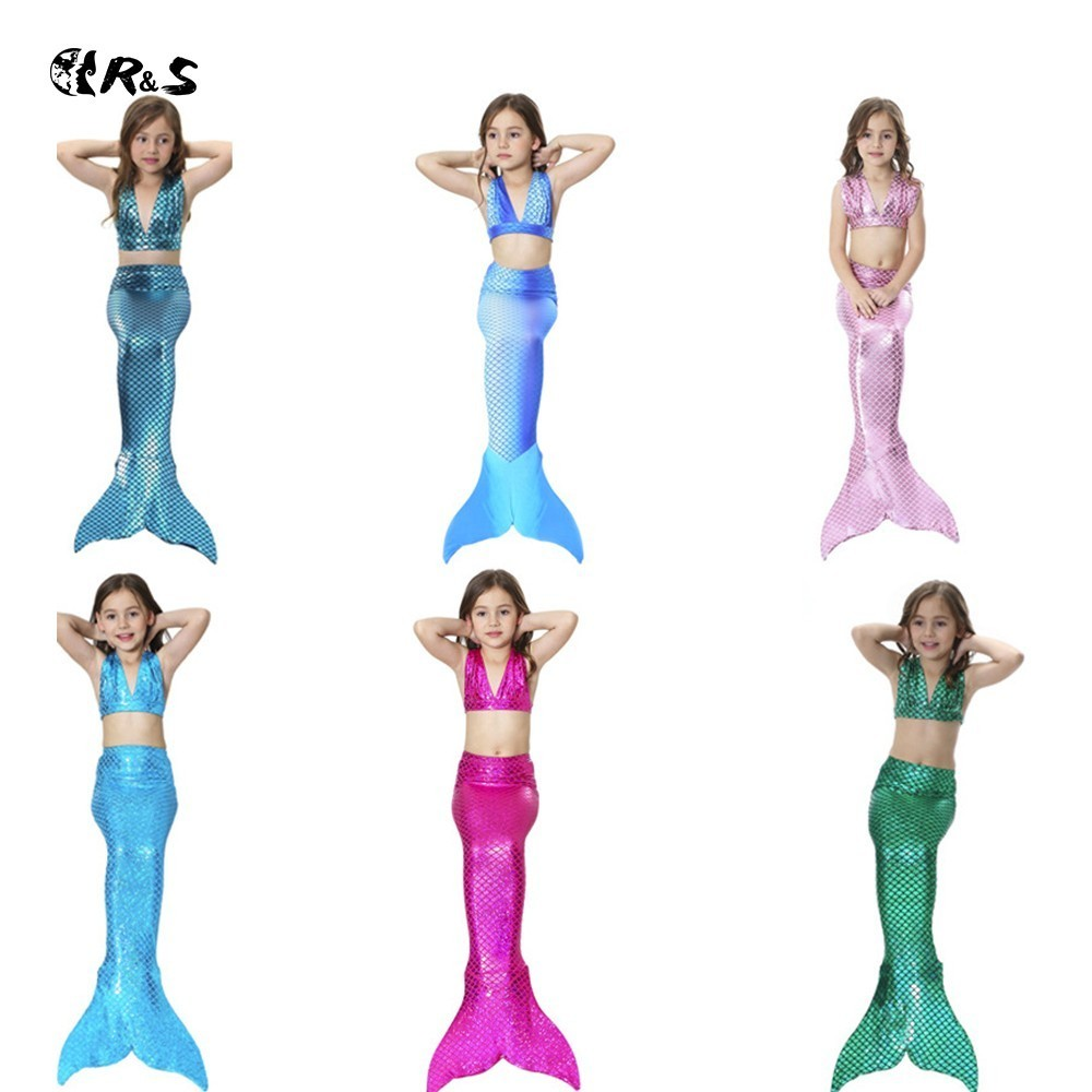 R&S 2018 hot sale children swimming suit Mermaid fairy tale Bikini set Cute solid girls swimwear 3 three piece swimsuit for kids spook s slither s tale