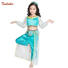 Christmas Children's Dress Ccosplay Jasmine Costume For Girls Princess Party Belly Dance Dress Indian Costume Long Sleeve 3-10T indian princess belly dance tulle feather party mask