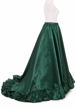 Victorian Satin Ruffled Skirts Victorian French Pleated Gathered Bustle Skirt
