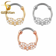 G23titan Fashion Party Jewelry Crystal Mask Septum Clicker 16G Needle Real Septum Piercing Rings Fashion Body Jewelry(China)