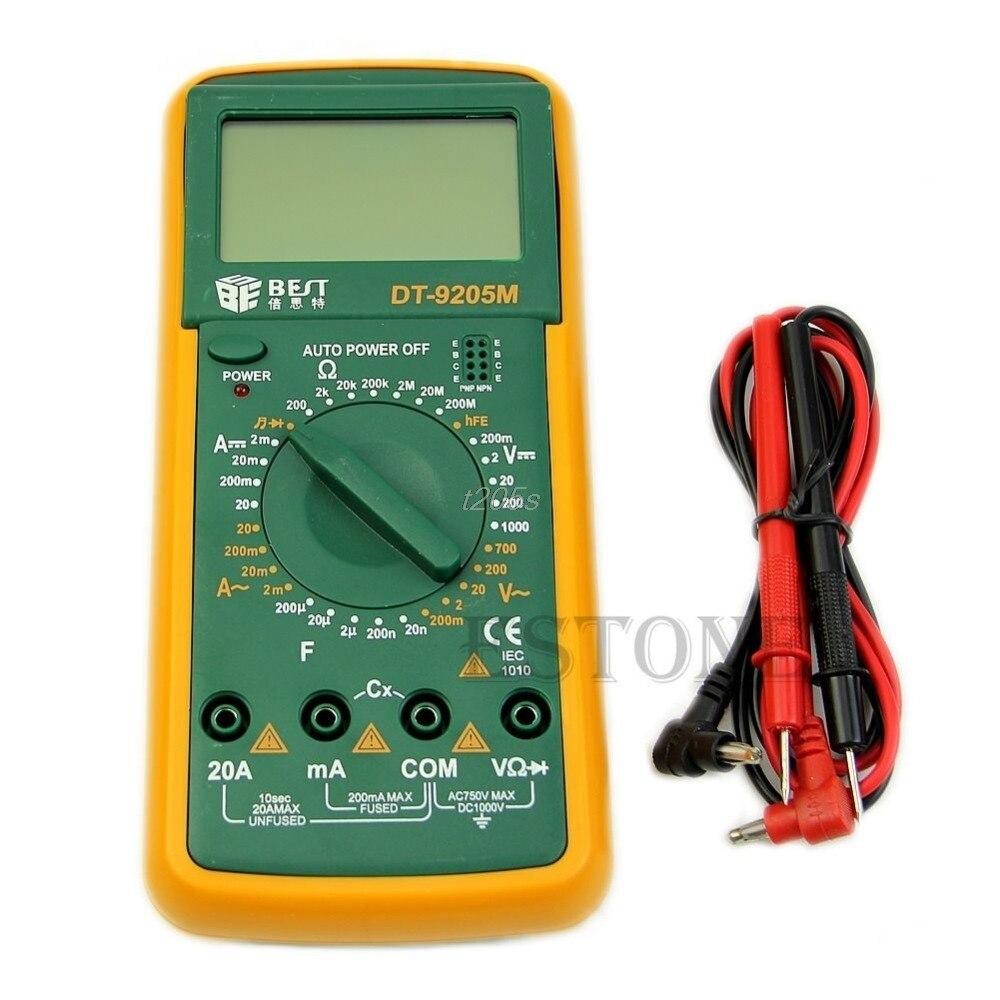 DT9205M LCD Multímetro Digital Voltímetro Ohmmeter Amperímetro Capacitância Tester Hot Q02 Dropship