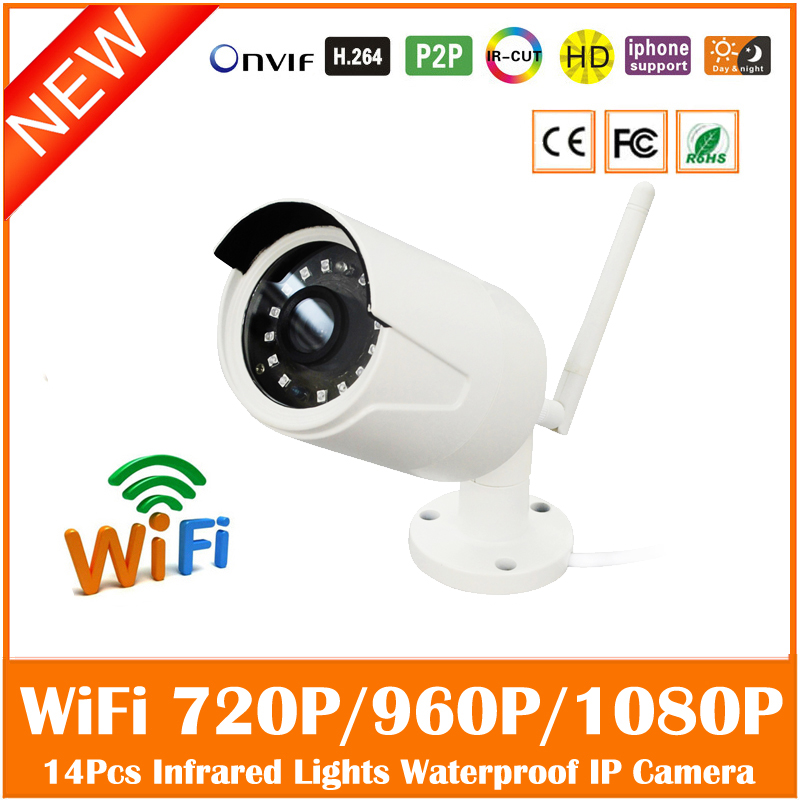 Hd Wifi Ip Camera 2.0mp Outdoor Waterproof Security Surveillance Cctv Cmos Infrared Night Vision White Webcam Freeshipping Hot wistino cctv camera metal housing outdoor use waterproof bullet casing for ip camera hot sale white color cover case