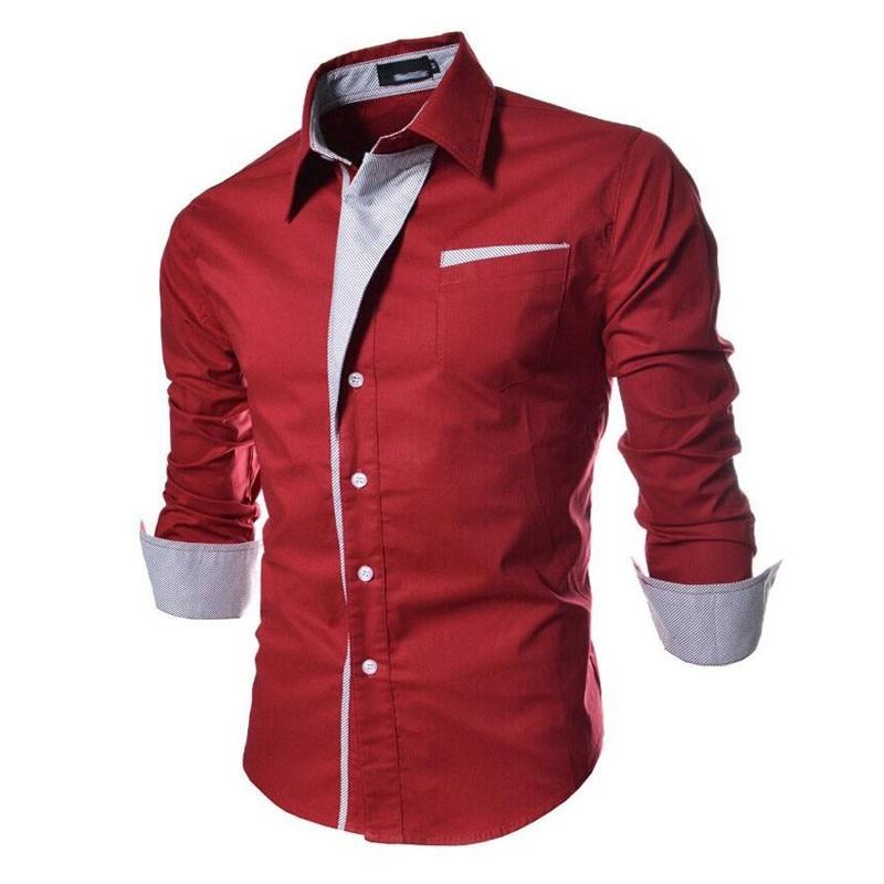 2017 new brand long sleeve shirts social male 5 colors slim fit  striped shirts plus size 3xl mens dress shirts 9