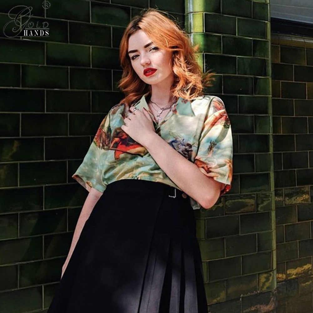 Złote dłonie kardigan z krótkim rękawem letnie bluzki Vintage estetyczne amorek anioł drukuj kobiety bluzka koszula graficzna bluzka z guzikami kobiet
