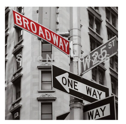Hot Custom Ny Broadway Guidepost Classical Fashion Stylish Home Decor Retro High Quality Poster 50x76cm