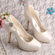 Wedopus MW100-5 Ivory Satin Bridal Wedding Shoes Bowside Platform with Rhinestones