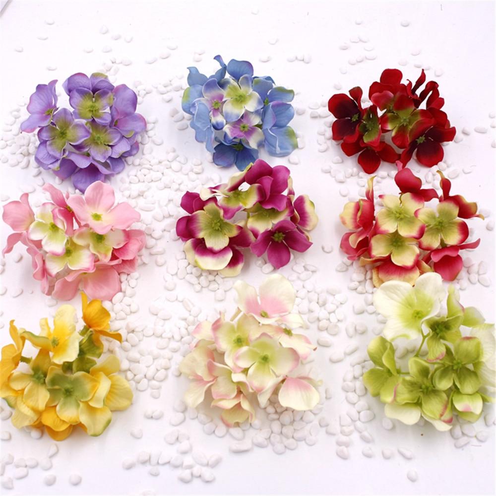 5pcs Decorative Head Hydrangea Rayon Silk Flower Simulation Diy