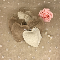 10pcs Love Heart Decoration Holiday Party Supplies Jute Heart Hessian Burlap Bunting Shabby Chic Rustic Wedding