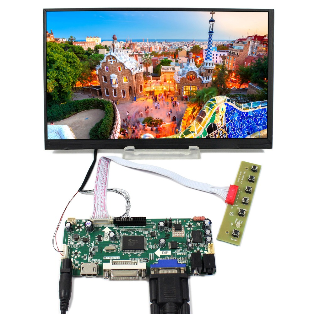 HDMI+DVI+VGA+Audio LCD Controller Board With 10.6inch 1366x768 LTL106AL01 IPS LCD Screen vga hdmi lcd controller board for lp156whu tpb1 lp156whu tpa1 lp156whu tpbh lp156whu tpd1 15 6 inch edp 30 pins 1 lane 1366x768