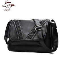 Genuine Leather Black Soft Women Messenger Bags Knitting Fashion Crossbody Handbag Flap Casual Shoulder Bolsa Feminina Girls Bag