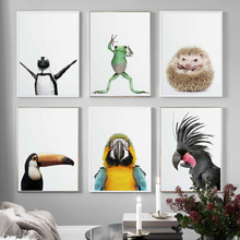 Cute Parrot Frog Hedgehog Penguin Bird Nordic Posters And Prints Wall Art Canvas Painting Pictures For Living Room Decor