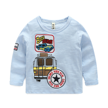 Long Sleeve T-shirt For Litter Boys Casual O-collar Embroidery Children Pullover T Shirt Autumn Baby Kids Cotton Tops T-shirts