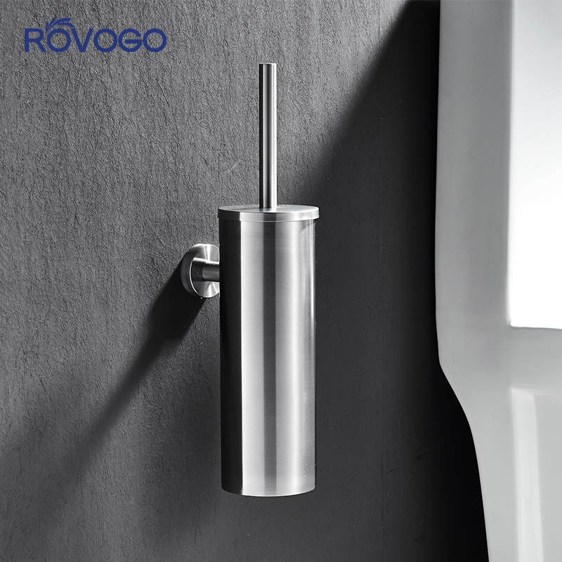 ROVOGO Toilet Brush Stainless Steel Lavatory Brush Bathroom Accessories Clean Brush Holder Wall Mounted For Toilet Accessories