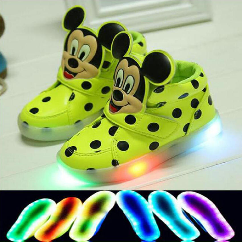 2016 New Fashion Stars Design boys girls luminous sneakers Mickey children flashing kids led lighting child casual shoes