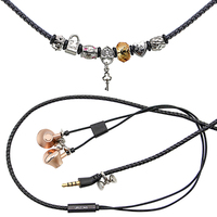 URIZONS In Ear Wired Bracelet Earphones With Mic For Mobile PC PU Braided Beads HIFI Bass