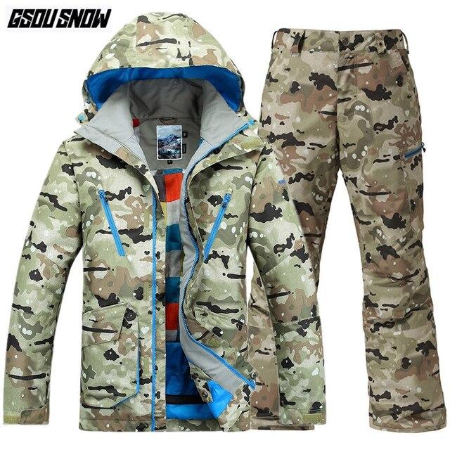 23c6b12f95 GSOU SNOW Brand Ski Suit Men Ski Jackets Snowboard Pants Winter Skiing  Suits Snowboarding Clothes Waterproof Camo Sports Coats