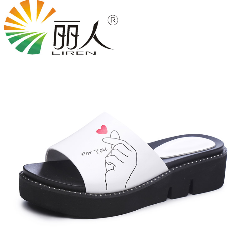 LIREN Brand 2017 New Summer Genuine Leather Women Shoes Slippers Wedges Ladies Causal Genuine Cow Leather