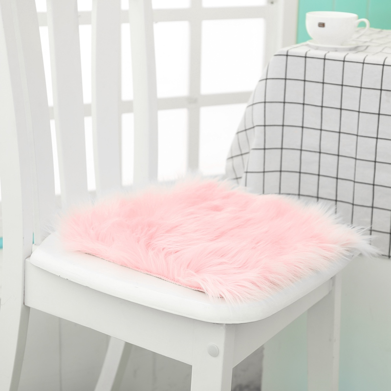 Hot Sale Faux Sheepskin Chair Cover 3 Colors Warm Hairy Wool Carpet Seat Pad Long Skin Fur Plain Fluffy Area Rugs Washable