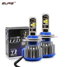 цена на EURS 2PCS T1 Car Headlight H7 H4 LED H8/H11 HB3/9005 HB4/9006 H1 H3 9012 H13 9004 9007 80W 8000lm Auto Bulb Headlamp 6000K Light