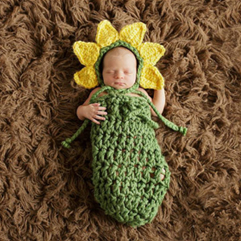 Baby photography props cute sunflower outfit newborn photo accessories crochet hat with sleep bag infant picture shoot suit gift