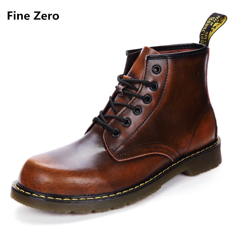 Fine Zero Unisex Cowhide Leather Warm Plush Boots Winter / Autumn shoes mens Motorcycle  ...
