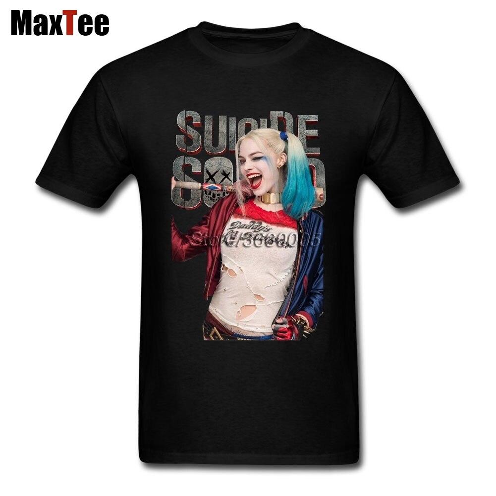 Harley Quinn T-shirt Men Mans Amazing Short Sleeve Cotton Custom 3XL Party Suicide Squad Camiseta