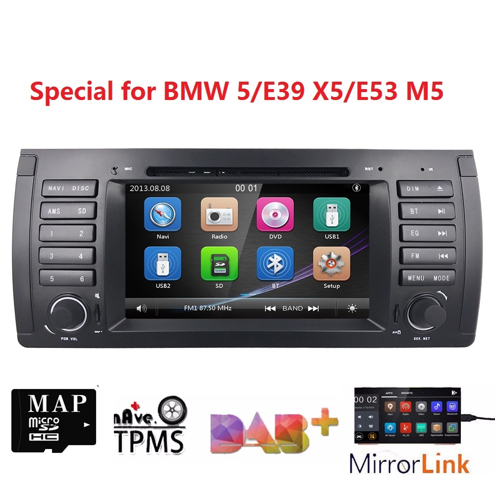 7 wince car monitor dvd for bmw e39 e53 x5 with gps navigation rds sd subwoofer steering wheel bluetooth dvr dab dvb t free map [ 1000 x 1000 Pixel ]