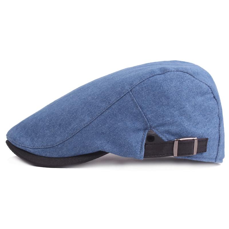106814941791 Nueva Moda Vaquero Jeans Gorras para Hombres Mujeres Casual Denim Beret  Hats Flat Unisex Sólido Denim Boinas Sombrero Adulto Duckbill Cap