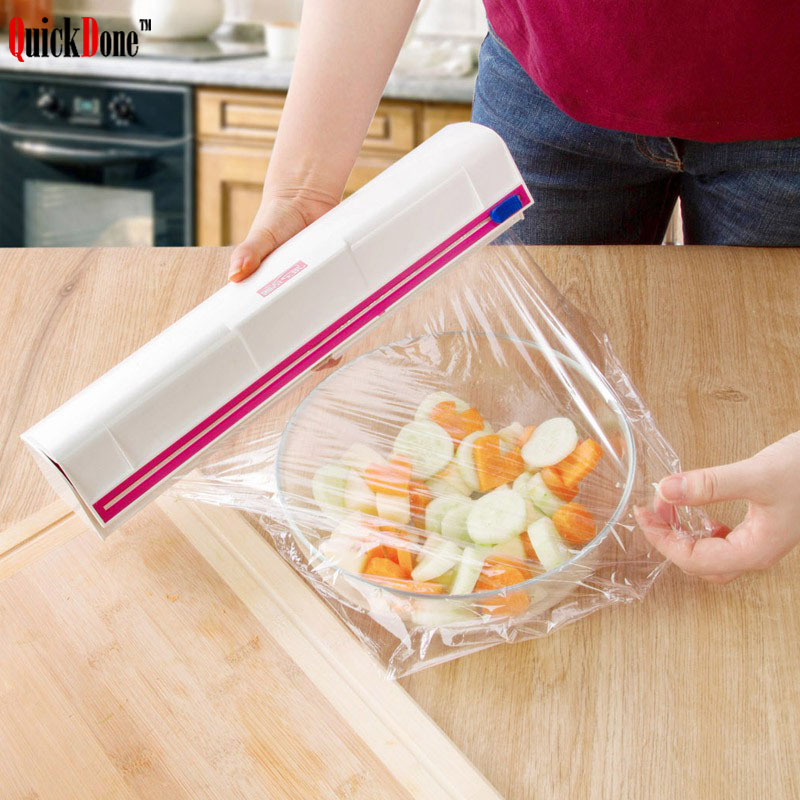 QuickDone Plastic Wrap Dispenser Cooking Tools Roll Warp Cutter Cling Film Cutting Box Storage Kitchen Accessories NDK0153|Plastic Wrap Dispensers| |  - title=