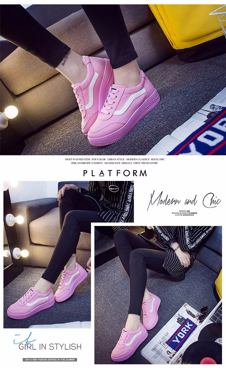 Free Shipping 2016 New Fashion Women Casual Shoes Comfortable Lace-up Woman Flats Classic Round Toe Sports Shoes ST427 (4)