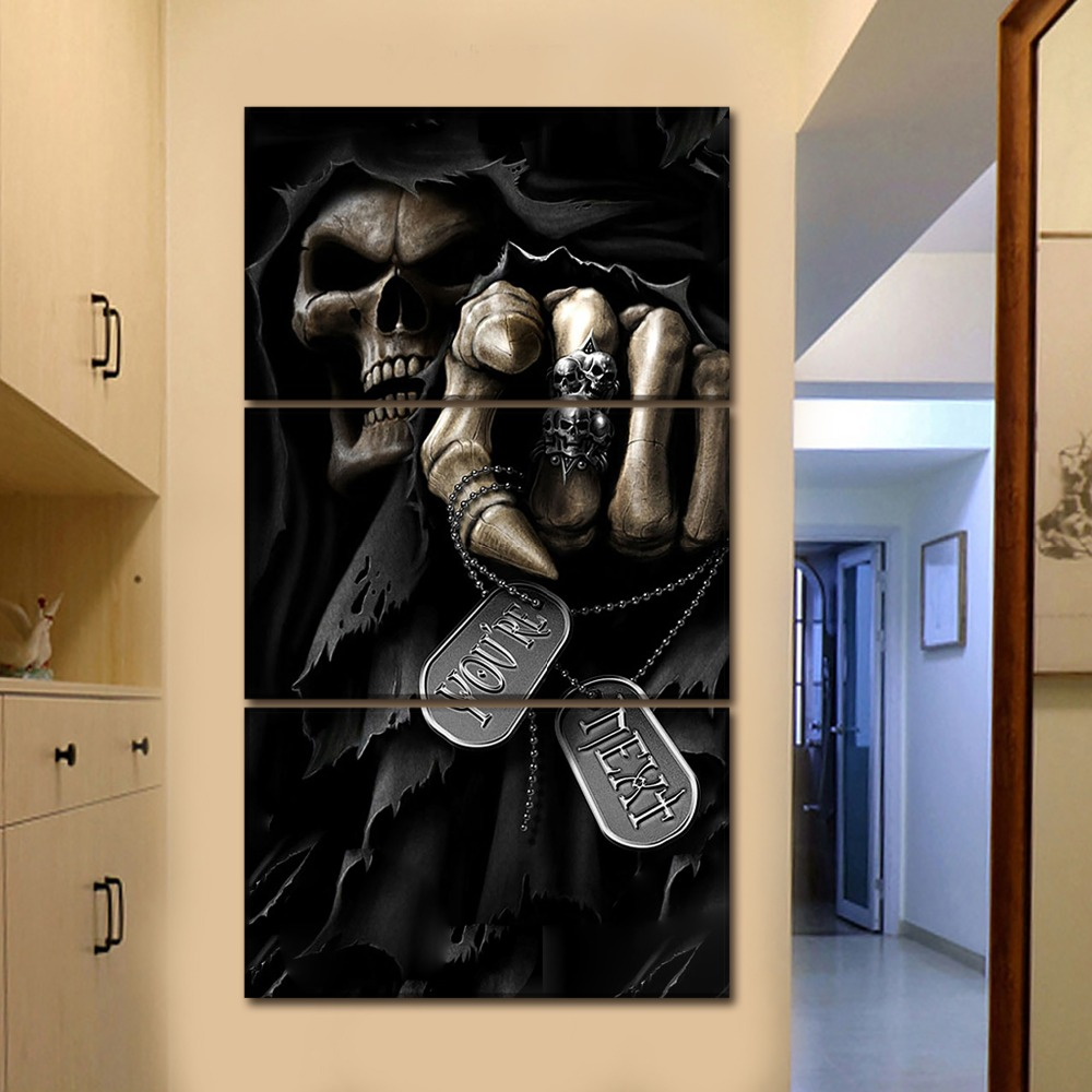3 Pieces Modular Artworks Modern Canvas Dark Grim Reaper Paintings Wall Art Picture Home Decorative Framework HD Prints Poster in Painting Calligraphy from Home Garden