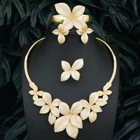 High Quality Luxury Leaves 3 Tone Copper Pendant Necklace Bangle Earring Ring For Dubai Women Wedding Engagement Jewelry