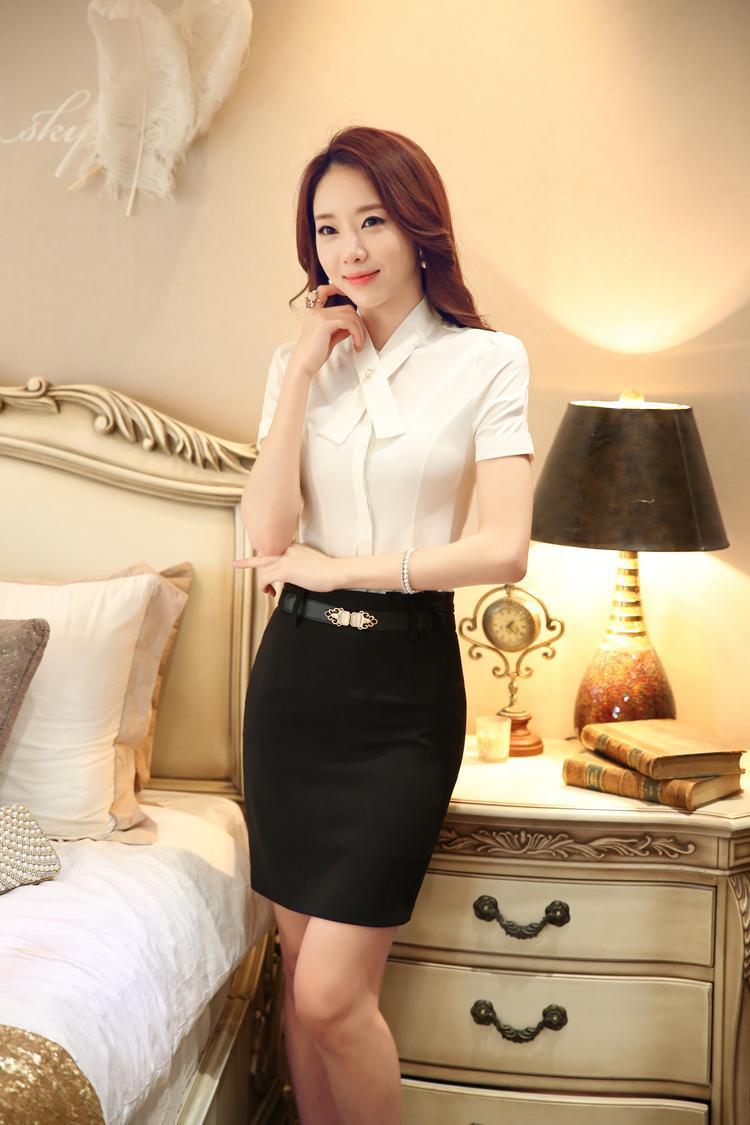 White Skirt Suits Women Blouse Skirt Set Summer Office -7506