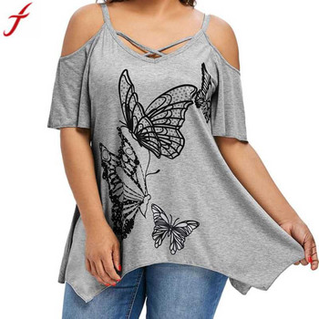 Large Size tunic shirts women 2019 Sexy Front Cross Butterfly Printing Blouse Open Shoulder Short Sleeve Tops Blouse camisa #4 1