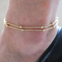 Trendy Foot Jewelry Chaine Cheville Enkelbandje Halhal Double Chain Link Beads Anklets For Women Barefoot
