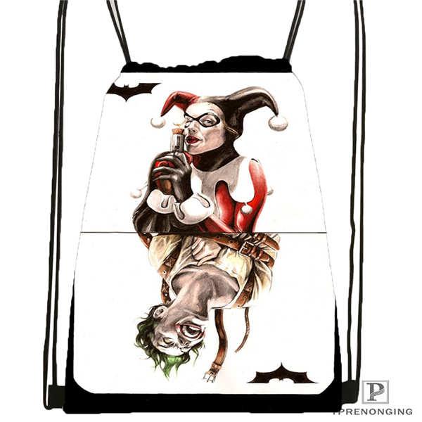 Custom Harley_quinn_card_gimp_ Drawstring Backpack Bag Cute Daypack Kids Satchel (Black Back) 31x40cm#2018612-01-(7)