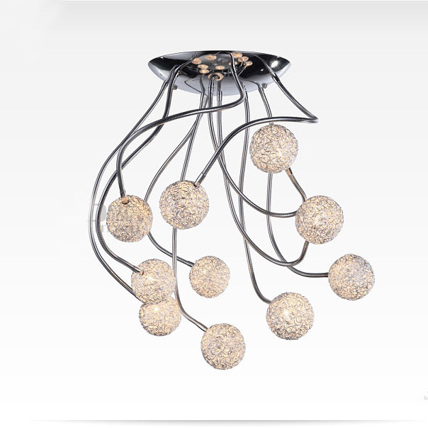 Ursprngliche Moderne Verstellbaren Armen 10 Aluminium Draht Blle Decke Lampe Wohnzimmer Schlafzimmer Arbeitszimmer Kronleuchter Leuchten