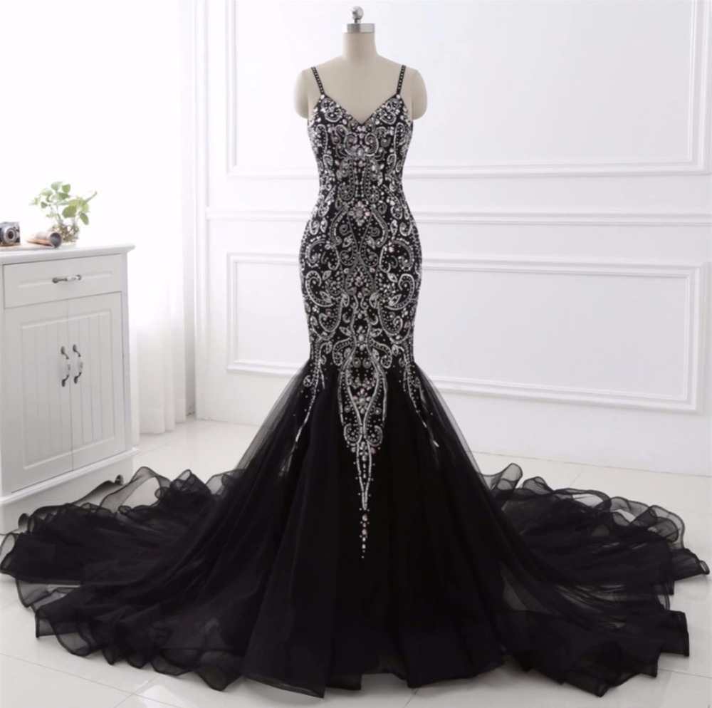 Sexy Sweetheart Ladies Mermaid Evening Dress Robe De Soiree Crystal Tulle Floor Length Wedding Party Dress