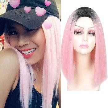 MLLE PERRUQUE Rose Ombre Noir Blonde Bleu Gris Perruque Longue Ligne Droite Cheveux Courts Perruques pour les Femmes Noires Perruques Synthétiques 230g