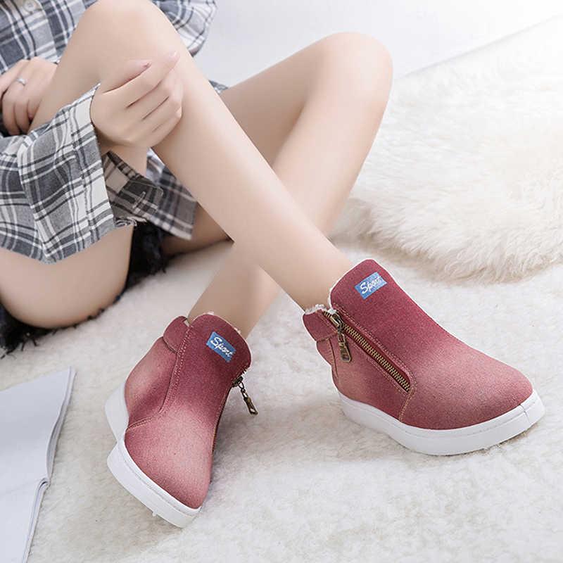 Mùa đông Giày Nữ Denim Ủng Nền Tảng Ấm Fleeces Cổ Cao Hàng Đầu Mũi Tròn Đế Bằng Giày Zapatos De mujer