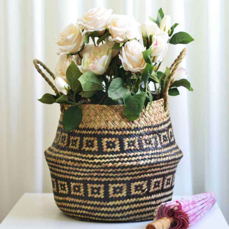 Penyimpanan Lipat Keranjang Jerami Keranjang Penyimpanan dengan Pegangan Desktop Kamar Mandi Penyimpanan Pot Bunga Dekorasi