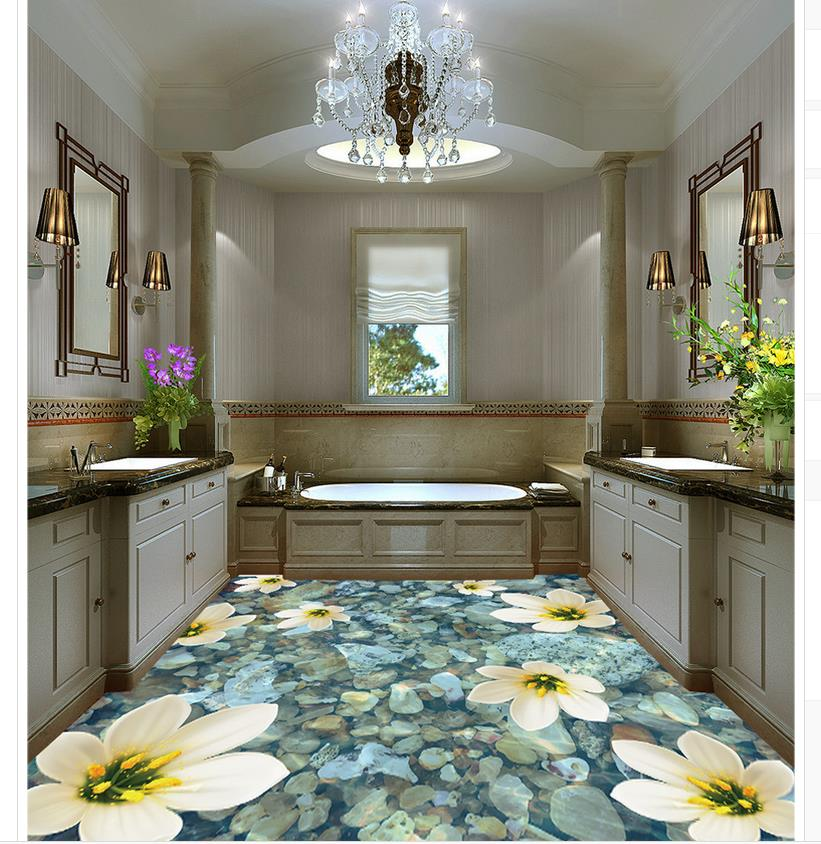 3d customized wallpaper Home Decoration Water flower on the floor of the bathroom pvc self-adhesive wallpaper customized home personalized seamless integration of the abstract paintings lotus wallpaper 1x3m