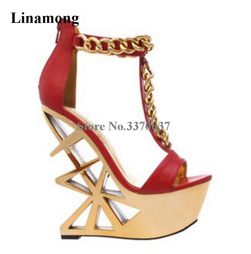Women Sexy Open Toe Gold Chain T-strap Strange Heel High Platform Sandals Gold Bottom Wedge Sandals Zip Night Club Stage Shoes