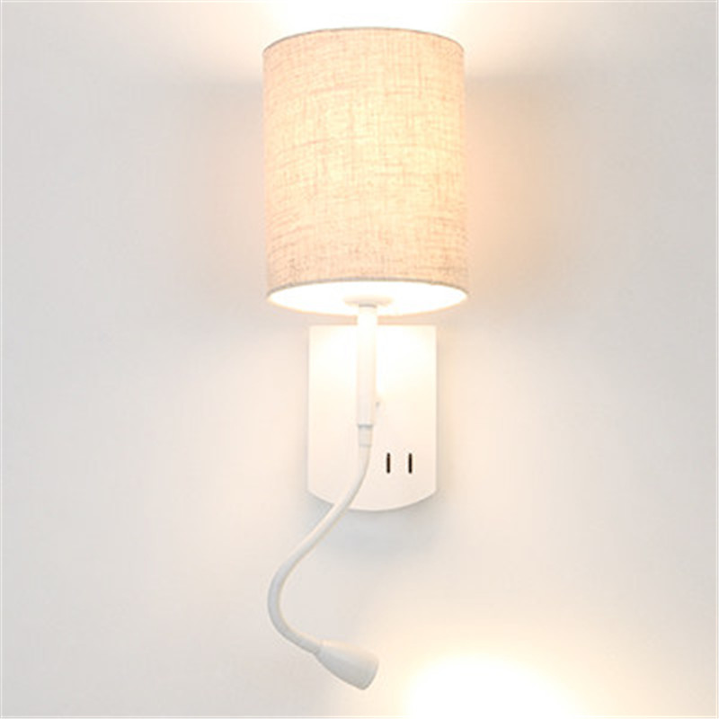 Simple Modern LED Wall Lamp Reading Switch Adjust Wall Light Fixtures Home Fabric Shade Bedside Wall Sconce Indoor Lighting simple style with usb switch modern led wall light fixtures read bedside wall lamp fabric shade iron wall sconce home lighting