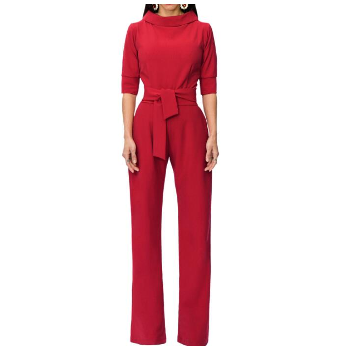 Spring Autumn Solid Stand Collar Half Sleeve Casual   Jumpsuits   with Sashes Office Lady Sexy Wide Leg Pants Women Rompers Overalls