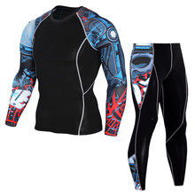 Sports Suit Men Bodybuilding Base Layer Tracksuit Men Sport homme Black Running Suits Compression Clothing Fitness Sets workout(China)