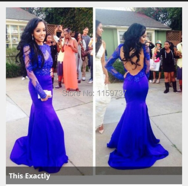 f485bb4310d Mermaid Long Royal Blue Scoop Prom Dresses New Long Sleeve Backless See  Through Evening Party Gowns on Aliexpress.com