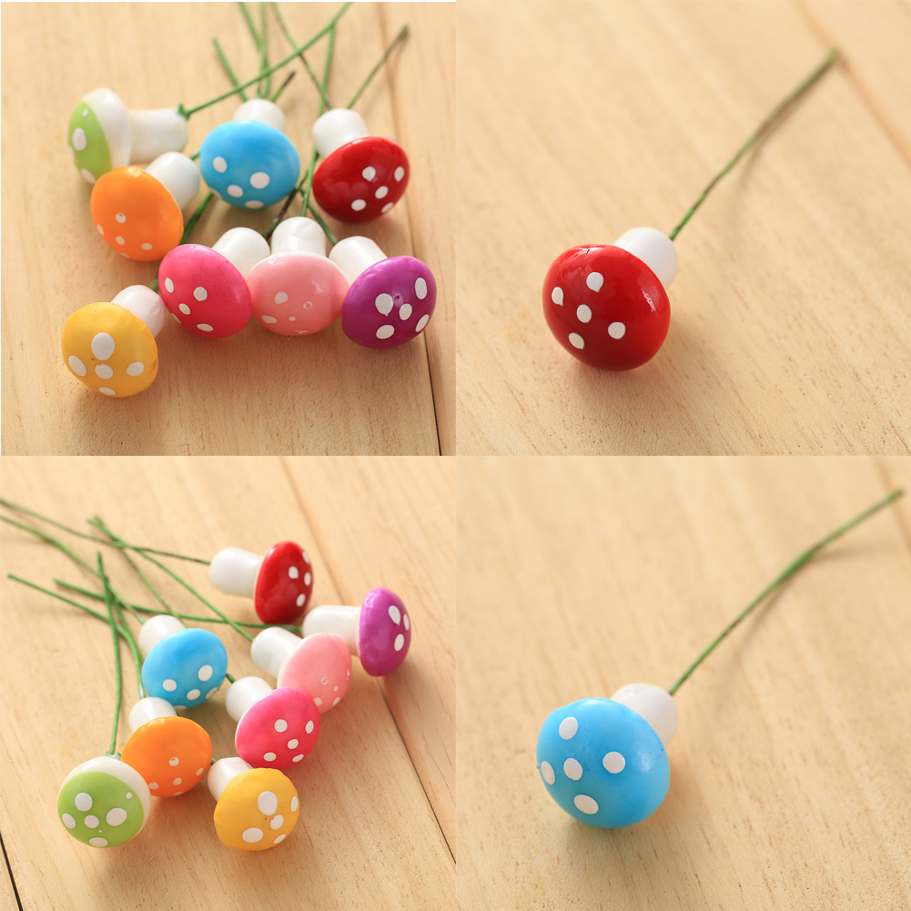 ᗕ10 unids rojo mini hongos ornamento planta miniatura DIY Dollhouse ...