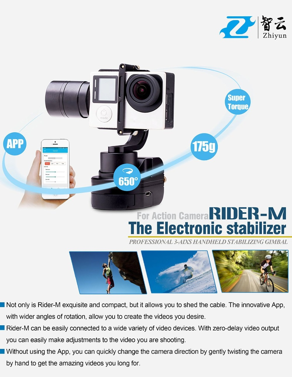 DHL Zhiyun Всадник М Z1-rider М gimbal 3-axi Носимых стабилизатор Bluetooth пульт дистанционного управления для Gopro hero 3 4 сессии GoCam Sj5000 xiaoyi